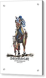 Secretariat At The Belmont Mural Acrylic Print by Amanda  Sanford