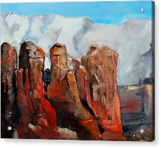 Sedona Coffee Pot Rock Painting Acrylic Print by Michele Carter