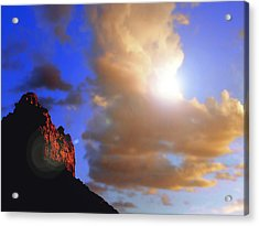 Sedona Mountain Cloud Sun Acrylic Print