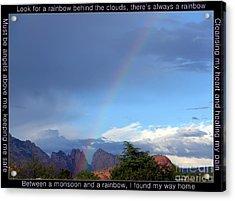 Sedona Rainbow Monsoon Acrylic Print by Marlene Rose Besso