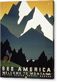 See America Welcome To Montana Acrylic Print by M Weitzman