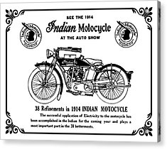 Acrylic Print featuring the mixed media See New 1914 Indian Motocycle At The Auto Show by Daniel Hagerman