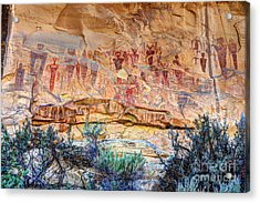 Sego Canyon Indian Petroglyphs And Pictographs Acrylic Print by Gary Whitton