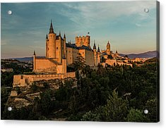 Segovia Alcazar And Cathedral Golden Hour Acrylic Print