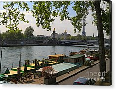 Seine Barges In Paris In Spring Acrylic Print by Louise Heusinkveld