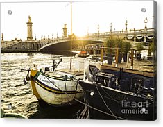 Seine River With Barges And Boats, Pont De Alexandre Bridge Behind, Paris France. Acrylic Print by Perry Van Munster