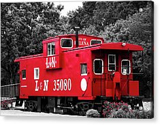 Acrylic Print featuring the photograph Selective Color Red Caboose by Parker Cunningham