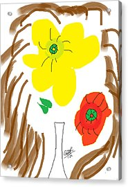 Self Portrait As Two Roses In A Vase Acrylic Print by Anita Dale Livaditis