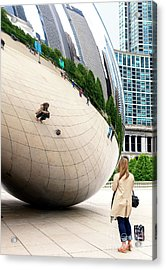 Self Portrait At The Chicago Bean Acrylic Print
