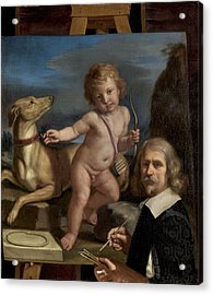 Self-portrait Before A Painting Of Amor Fedele Acrylic Print by Giovanni Francesco Barbieri - Called Guercino