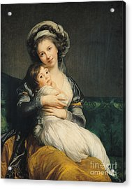 Self Portrait In A Turban With Her Child Acrylic Print by Elisabeth Louise Vigee Lebrun