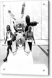 Self Portrait In Jeff Koons Mylar Rabbit Balloon Sculpture Acrylic Print