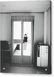 Self Portrait On Mirror Wardrobe Acrylic Print by Sirikorn Techatraibhop