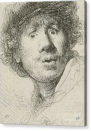 Self-portrait With Beret And Wide-eyed, 1630 Acrylic Print