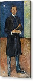 Self-portrait With Brushes Acrylic Print by Edvard Munch