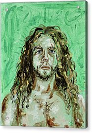 Self Portrait -with Emerald Green And Mummy Brown- Acrylic Print