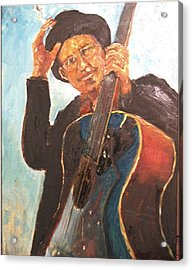 Self Potrait As Bob Dylan  Acrylic Print by Udi Peled