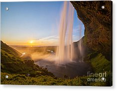 Seljalandsfoss Sunset Iceland Acrylic Print
