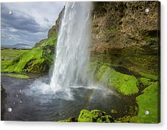 Seljalandsfoss With Rainbow, Iceland Acrylic Print