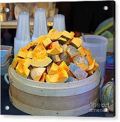 Acrylic Print featuring the photograph Selling Fresh Pumpkin Shakes by Yali Shi