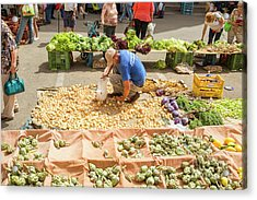 Selling Onions On A Market Acrylic Print by Patricia Hofmeester