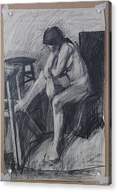 Semi Cubist Life Drawing Acrylic Print by Harry Robertson