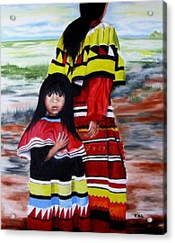 Seminole Mother And Child Acrylic Print
