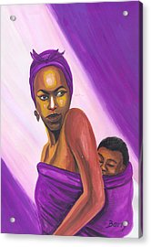 Acrylic Print featuring the painting Senegalese Woman by Emmanuel Baliyanga