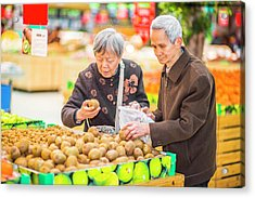 Senior Man And Woman Shopping Fruit Acrylic Print