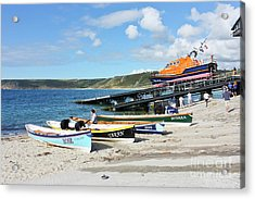 Sennen Cove Lifeboat And Pilot Gigs Acrylic Print by Terri Waters