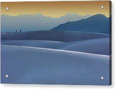 Sense Of Scale - 2 - White Sands - Sunset Acrylic Print by Nikolyn McDonald