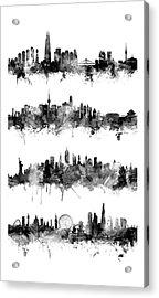 Seoul, Beijing, New York And London Custom Skyline Collection Acrylic Print