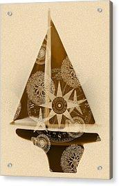 Sepia Boat Acrylic Print by Frank Tschakert