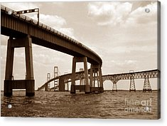 Sepia Chesapeake Bay Bridge Acrylic Print