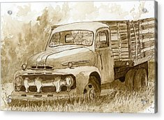 Sepia Ford Truck Sketch Acrylic Print