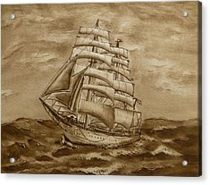 Acrylic Print featuring the painting Sepia Oceans Fury by Kelly Mills