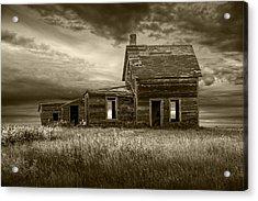 Sepia Tone Of Abandoned Prairie Farm House Acrylic Print