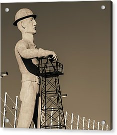 Acrylic Print featuring the photograph Sepia Tulsa Driller - Oklahoma by Gregory Ballos