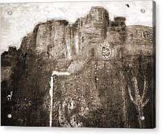 Sepia Version Of Mesa Painting Acrylic Print by Anne-Elizabeth Whiteway