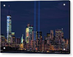 Acrylic Print featuring the photograph September 11tribute In Light by Emmanuel Panagiotakis