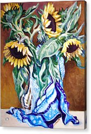 Acrylic Print featuring the painting September Sunflowers by Laura Aceto