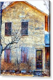 Acrylic Print featuring the photograph September's Gone - Yellow Farmhouse Windows by Janine Riley