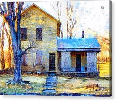 Acrylic Print featuring the photograph September's Song - Yellow Farmhouse  by Janine Riley