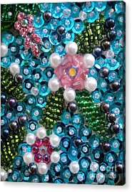 Sequis And Bead Embroidery. Spring Flowers Acrylic Print by Sofia Metal Queen