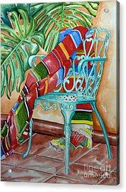 Serape On Wrought Iron Chair II Acrylic Print