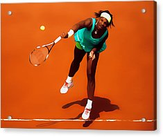 Serena Williams Match Point 2c Acrylic Print by Brian Reaves