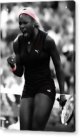 Serena Williams On Fire Acrylic Print by Brian Reaves