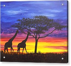 Acrylic Print featuring the painting Serengeti Sunset by Darren Robinson