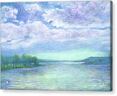 Acrylic Print featuring the painting Serenity Blue Lake by Judith Cheng