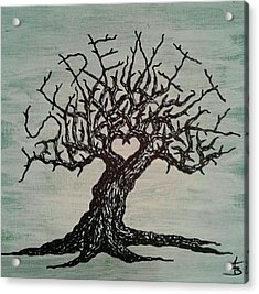Acrylic Print featuring the drawing Serenity Love Tree by Aaron Bombalicki